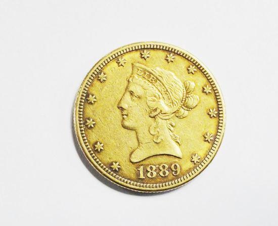 1889-S LIBERTY EAGLE $10 GOLD COIN, VF CONDITION