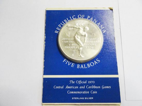 REPUBLIC OF PANAMA FIVE BABOAS 1970 COMMEMORATIVE COIN IN STERLING SILVER