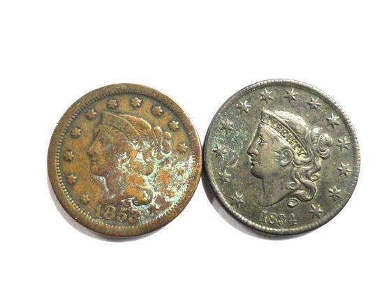 (2) LARGE CENTS: 1834, 1853