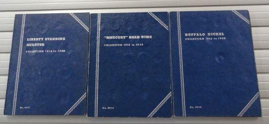 WHITMAN FOLDER MERCURY HEAD DIME: 1916-1945 INCOMPLETE (34 COINS)