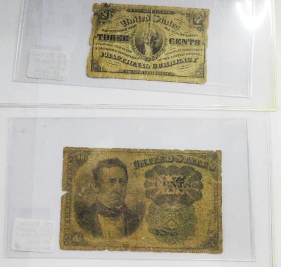 1863 THREE CENTS FRACTIONAL CURRENCY & 1860'S TEN CENT FRACTIONAL CURRENCY