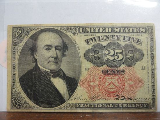 SERIES OF 1874 TWENTY FIVE CENTS FRACTIONAL CURRENCY NOTE.