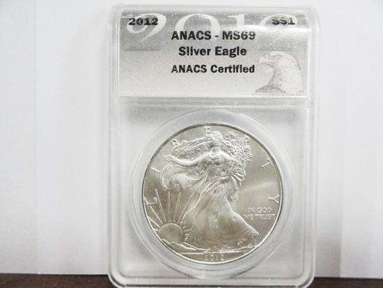 ANACS GRADED MS-69 2012 SILVER AMERICAN EAGLE .999 FINE SILVER COIN