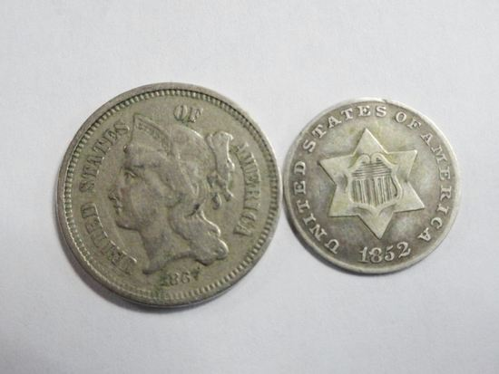 (2) THREE CENT COINS: