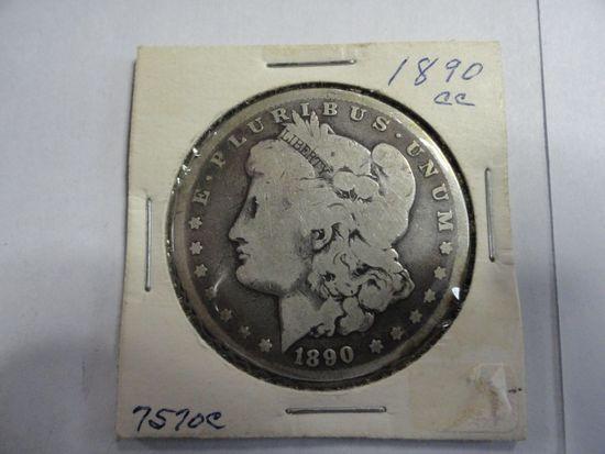1890-CC MORGAN SILVER DOLLAR, AG CONDITION