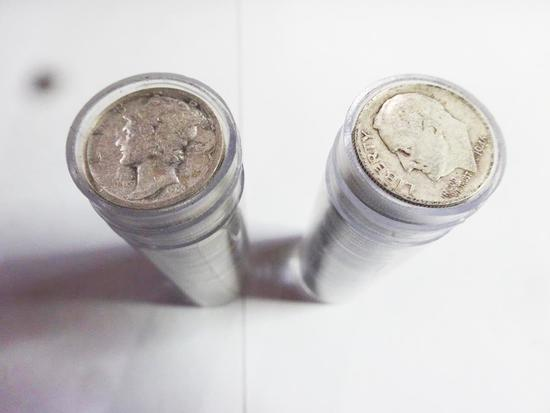 (2) ROLLS OF (50) CIRCULATED SILVER DIMES.