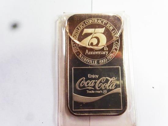 COCA COLA 75TH ANNIVERSARY 1 T OZ .999 FINE SILVER