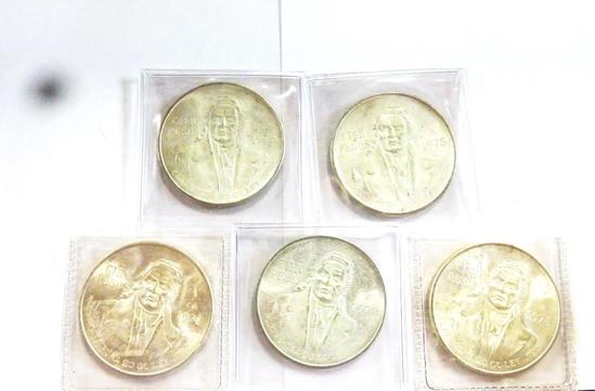 (5) 1975 CIEN PESOS, 20 GRAMS .720 FINE SILVER COINS