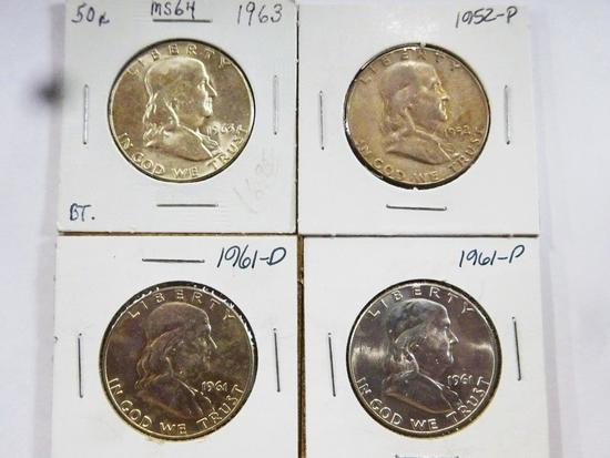 (4) FRANKLIN HALF DOLLARS, BU CONDITION - 1952, (2) 1961, 1963