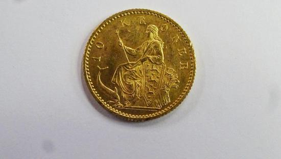 DENMARK 1900 10 KRONER GOLD COIN, .1296 T OZ PURE GOLD