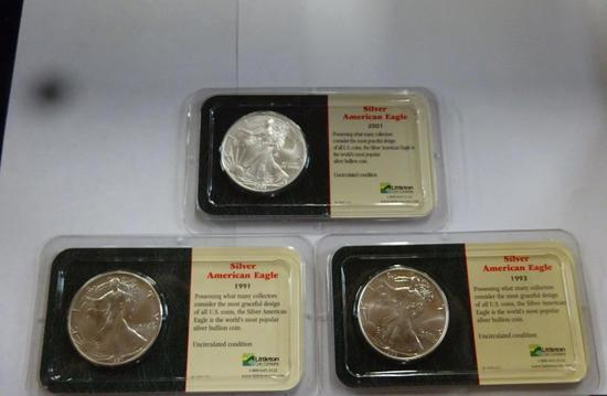 (3) SILVER AMERICAN EAGLE COINS,