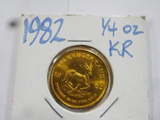 1982 SOUTH AFRICA 1/4 OZ FINE GOLD KRUGERAND