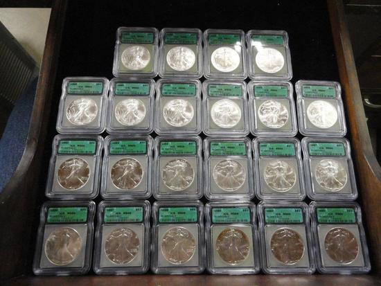 ICG GRADED MS-69 SET 1986-2007 OF SILVER AMERICAN EAGLES 1 T OZ .999 FINE SILVER COINS,