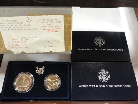(3) 1991-95 U.S. MINT WORLD WAR II 50TH ANNIVERSARY COMMEMORATIVE TWO-COIN UNCIRCULATED SETS