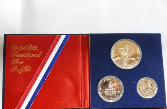 1976 U.S. MINT BICENTENNIAL SILVER PROOF SET - QUARTER, HALF, & DOLLAR