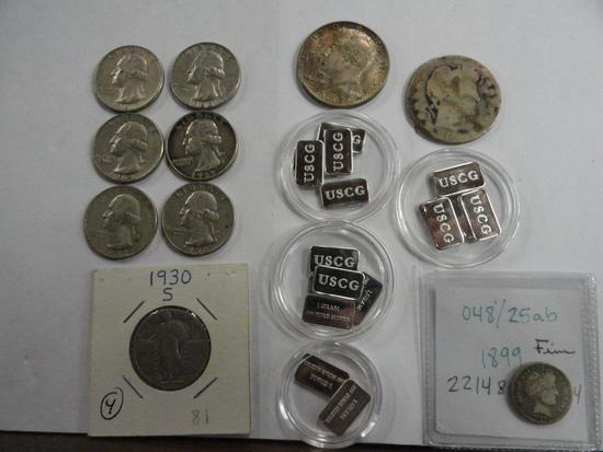 LOT OF ASSORTED SILVER INGOTS & COINS: