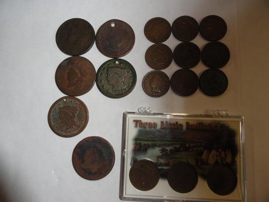 LOT OF LARGE CENTS & INDIAN HEAD CENTS,