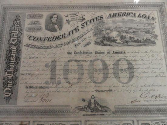 CONFEDERATE 1000 BOND WITH COA, SOTHEBY'S LONDON