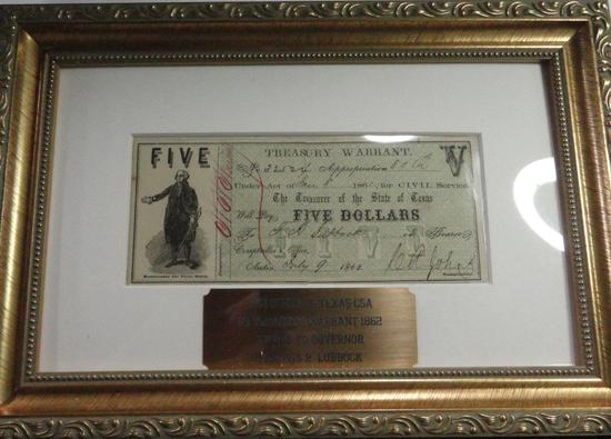 FRAMED STATE OF TEXAS CONFEDERATE STATES $5 ISSUED TO GOVERNMENT LUBBOCK