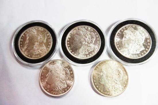 5 MORGAN DOLLARS- 1880-S, 1883-O,1898-O,(2) 1921, BU CONDITION