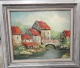 OIL ON CANVAS - P KAUL OR RAUL - COUNTRY RIVER SCENE (29X33