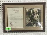 FRAMED GENE AUTRY TYPED LETTER SIGNED AND PHOTOGRAPH DATED 1934