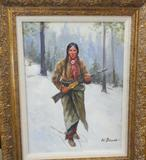 OIL PAINTING ON CANVAS BOARD AFTER HENRY FARNY OF INDIAN TRAPPER