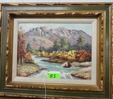 OIL ON CANVAS - MOUNTAIN STREAM SIGNED ROBIN C (20 X 24