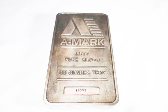 A-MARK .999+ PURE SILVER 100 OUNCES TROY SILVER BAR, SR # 18353