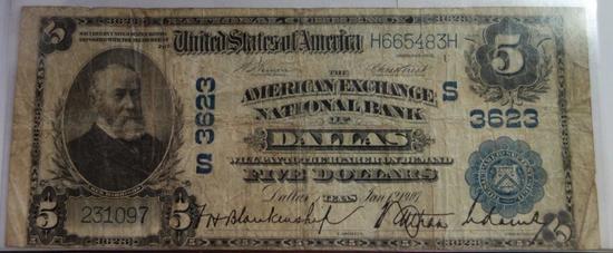 1907  AMERICAN EXCHANGE NATIONAL BANK, DALLAS TX $5 NOTE
