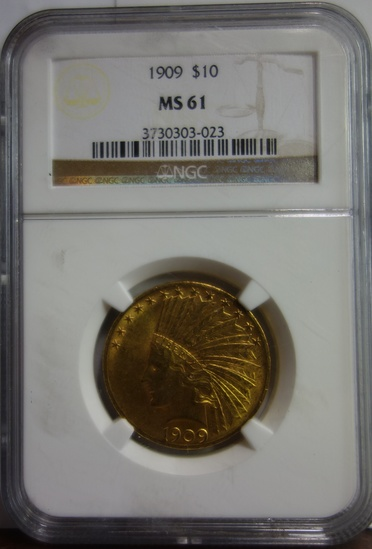 NGC GRADED MS-61 $10 GOLD INDIAN HEAD COIN