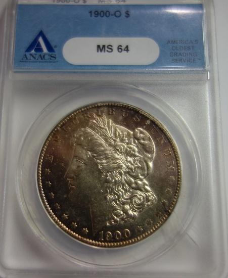 ANACS GRADED MS-64, 1900-O MORGAN SILVER DOLLAR