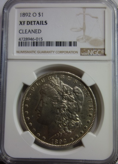 NGC GRADED XF DETAILS, CLEANED, 1892-O MORGAN SILVER DOLLAR