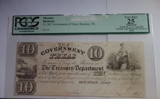 PCGS GRADED VERY FINE 25 APPARENT, 10 GOVERNMENT OF TEXAS OBSOLETE BANK NOTE
