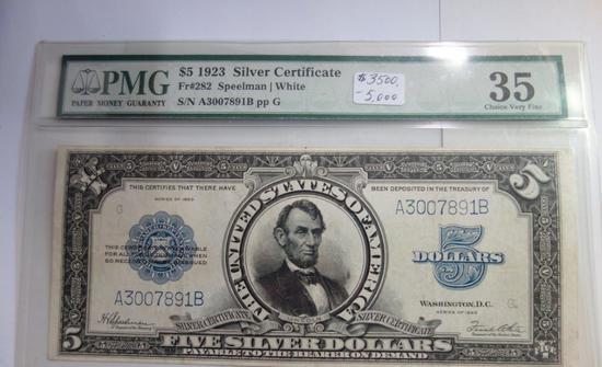 PMG GRADED CHOICE VERY FINE 35 $5 1923 SILVER CERTIFICATE