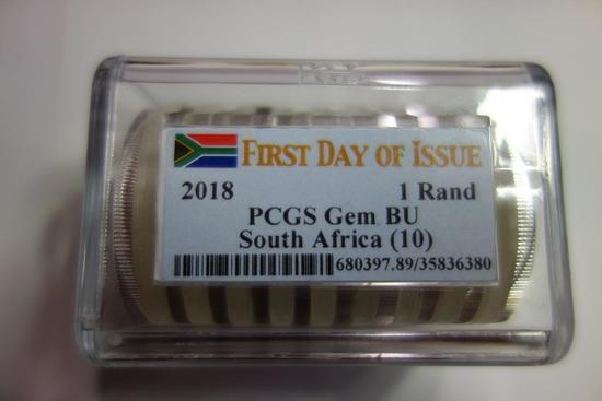 PCGS ROLL OF 10 2018 1 RAND SOUTH AFRICA GEM BU COINS