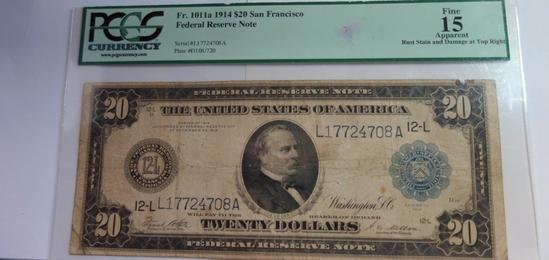 PCGS GRADED FINE 15 SAN FRANCISCO 1914 $20 FEDERAL RESERVE NOTE,