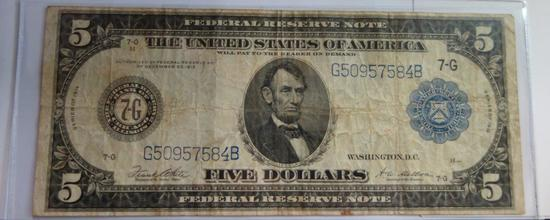 1914 $5 FEDERAL RESERVE NOTE, BLUE SEAL, CHICAGO, WHITE/MELLON