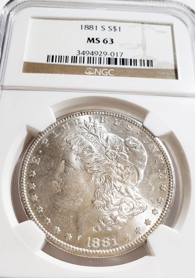 NGC GRADED MS63 1881-S MORGAN SILVER DOLLAR