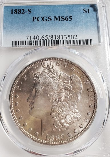 PCGS GRADED MS65 1882-S MORGAN SILVER DOLLAR