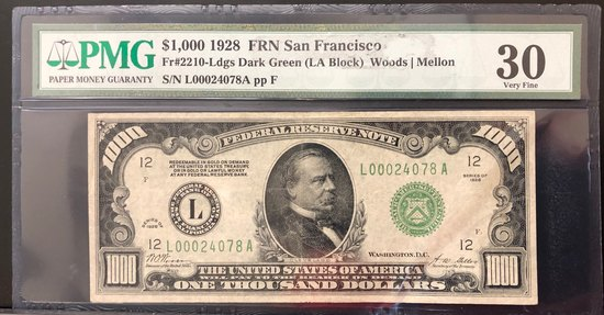PMG GRADED VERY FINE 30 FR. #2210 $1000 FEDERAL RESERVE NOTE