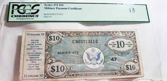 PCGS GRADED FINE 15 SERIES $10 MILITARY PAYMENT CERTIFICATE