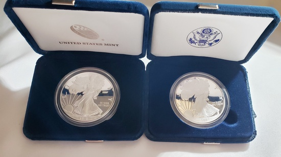 (2) U.S. MINT ONE OUNCE PROOF SILVER AMERICAN EAGLE COINS