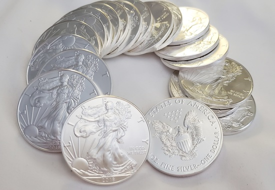 20 UNCIRCULATED 2018 AMERICAN EAGLE 1 TOZ .999 SILVER COINS