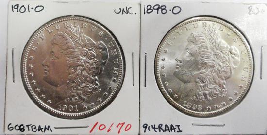 (2) MORGAN SILVER DOLLARS, 1898-O BU, 1901-O BU