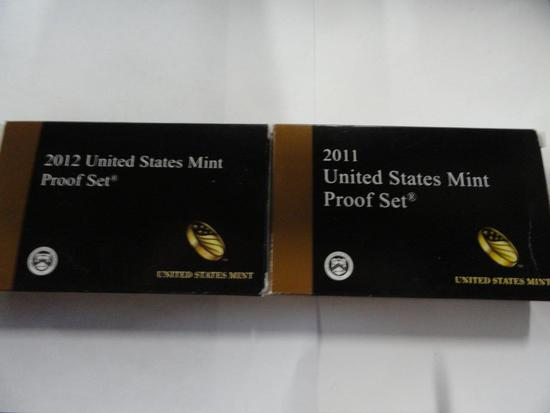 (2) U.S. MINT PROOF SETS: 2011, 2012