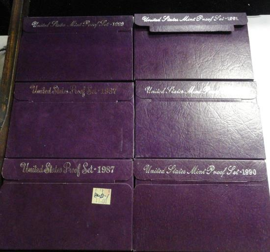 (6) U.S. MINT PROOF SETS: (2) 1987, 1989, (2) 1990, 1991