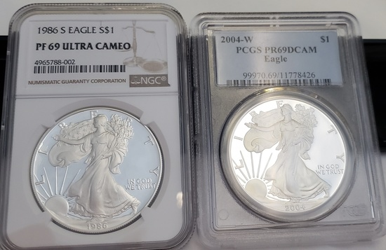 (2) GRADED AMERICAN EAGLES