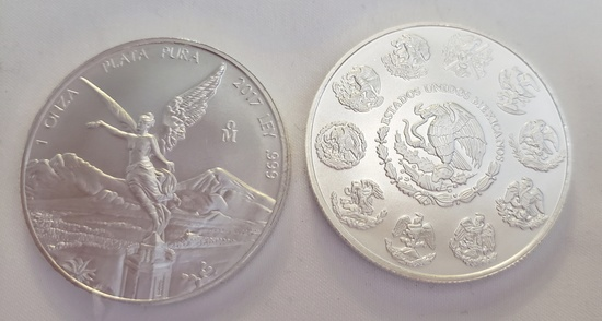 (2) 2017 1 TOZ .999 FINE SILVER LIBERTAD MEXICO COINS