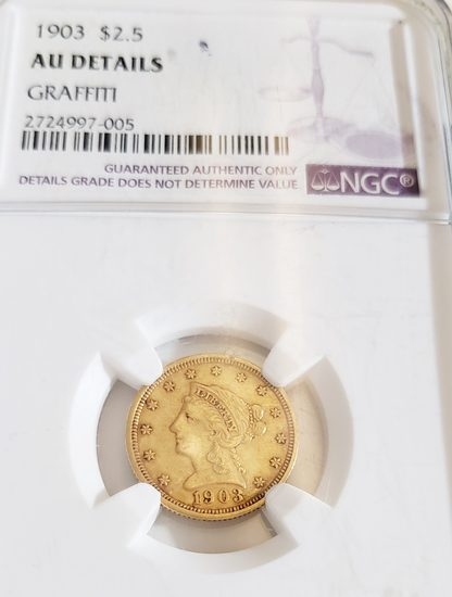 NGC GRADED  1903 $2.50 GOLD COIN
